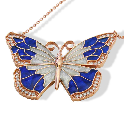 """ENAMEL BLUE&WHITE ROSE GOLD BUTTERFLY W/WHITE CZ STONES REVERSIBLE NECKLACE 16+2"""""""