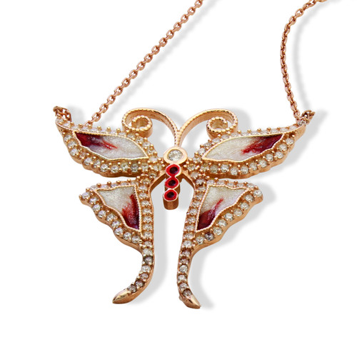 """ENAMEL RED&WHITE ROSE GOLD BUTTERFLY W/WHITE CZ STONES REVERSIBLE NECKLACE 16+2"""""""