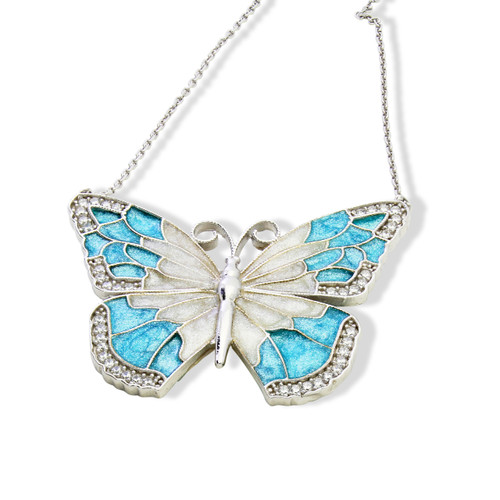 ENAMEL TURQUOISE&WHITE BUTTERFLY W/WHITE CZ STONES REVERSIBLE NECKLACE 16+2""