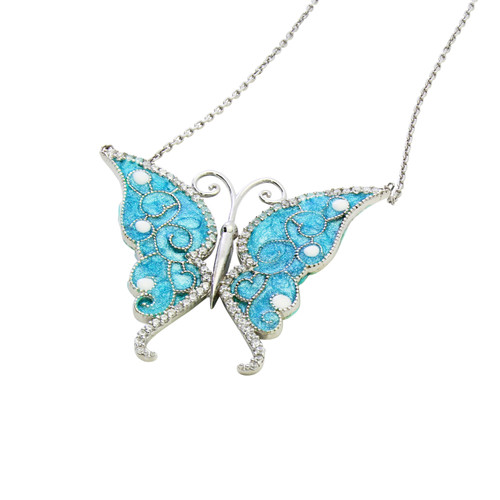 """ENAMEL TURQUOISE BUTTERFLY W/WHITE CZ STONES REVERSIBLE NECKLACE 16+2"""""""