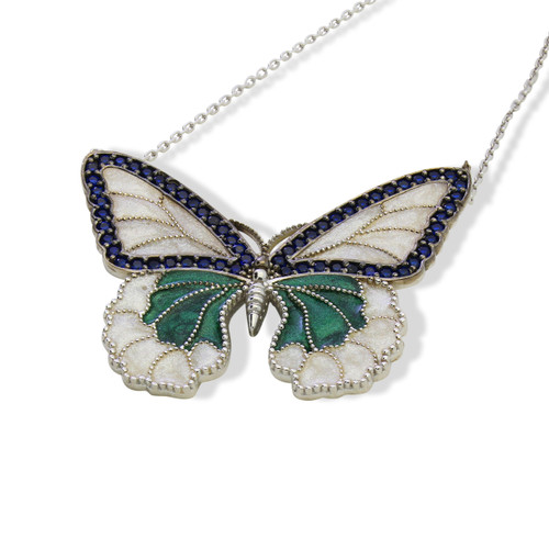 ENAMEL GREEN&WHITE BUTTERFLY W/BLUE CZ STONES REVERSIBLE NECKLACE 16+2""