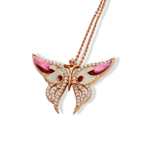"""ENAMEL RED&WHITE ROSE GOLD SMALL BUTTERFLY W/WHITE CZ STONES REVERSIBLE NECKLACE 16+2"""""""