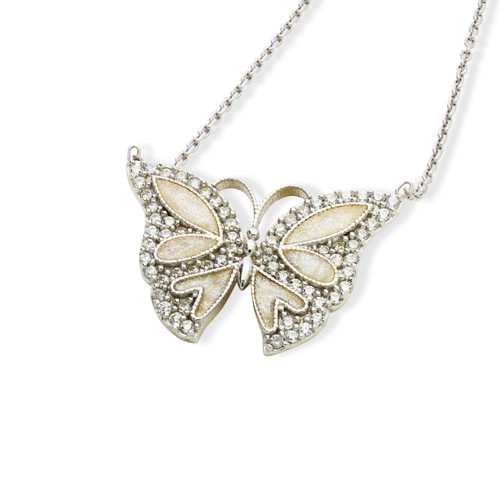 """ENAMEL WHITE SMALL BUTTERFLY W/WHITE CZ STONES REVERSIBLE NECKLACE 16+2"""""""