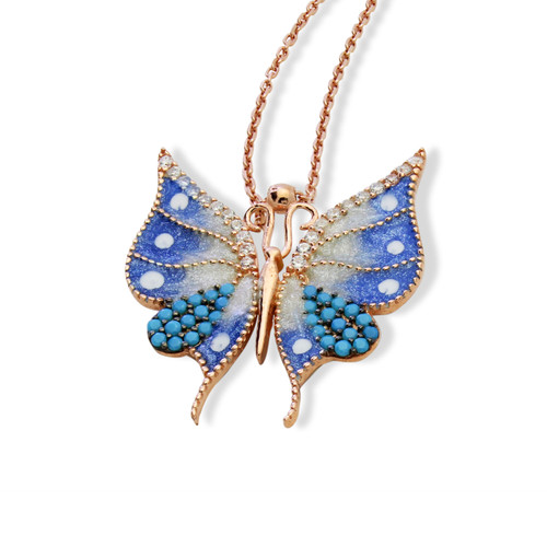 """ENAMEL BLUE&WHITE ROSE GOLD SMALL BUTTERFLY W/WHITE CZ STONES REVERSIBLE NECKLACE 16+2"""""""
