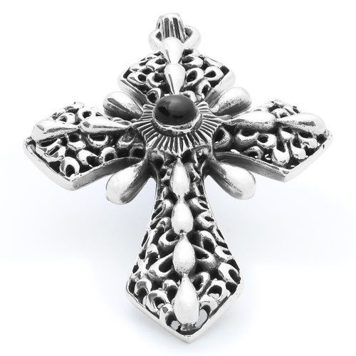 TWISTED BLADE SILVER 58MM ORNATE ONYX CROSS PENDANT