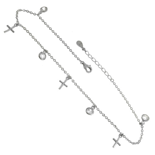 DANGLE CROSS BEZEL ROUND CZ RHODIUM ADJUSTABLE ANKLET
