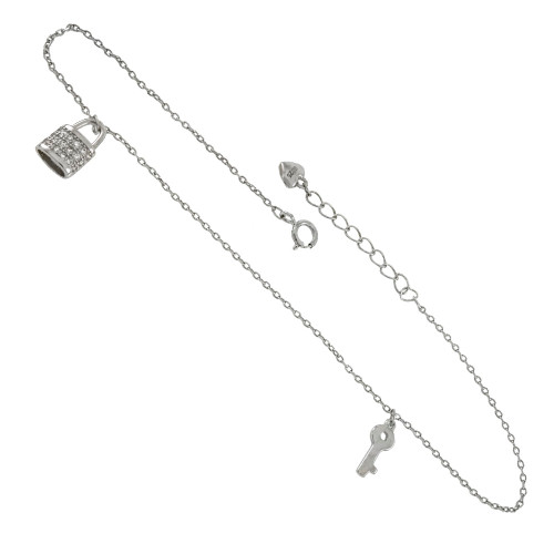 ROLO D/C CHAIN W. CZ LOCK KEY RHODIUM ADJUSTABLE ANKLET