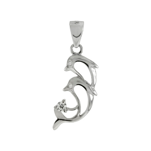 TWO DOLPHINS CZ PENDANT