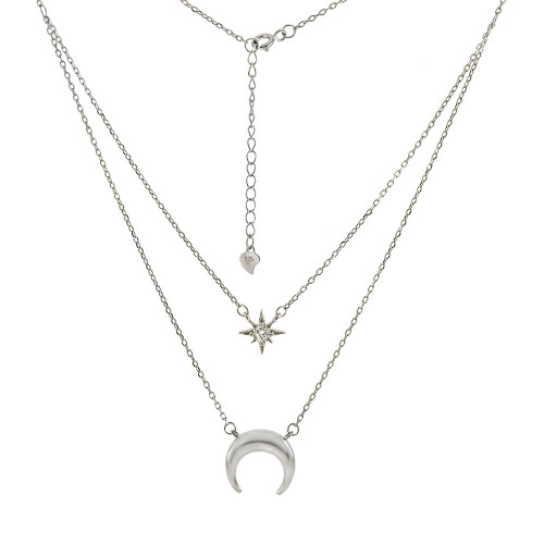 CRESCENT MOON CZ TWINKLE STAR LAYERED ADJUSTABLE NECKLACE