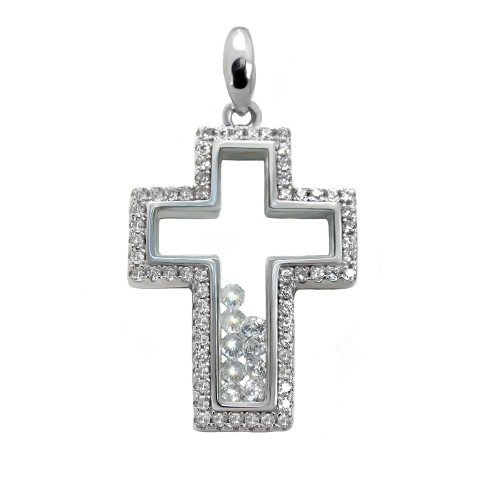 CUBIC ZIRCONIA FLOATING STYLE PAVE CZ CROSS PENDANT