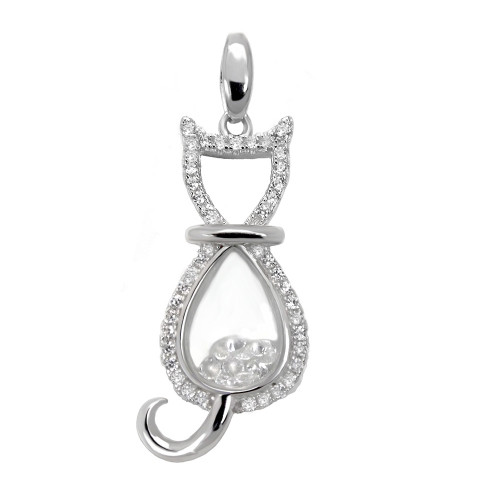 FLOATING CUBIC ZIRCONIA PAVE CZ CAT PENDANT
