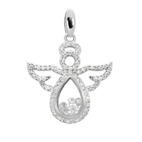 PAVE FLOATING CZ ANGEL PENDANT