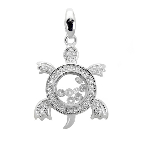 PAVE FLOATING CZ TURTLE PENDANT