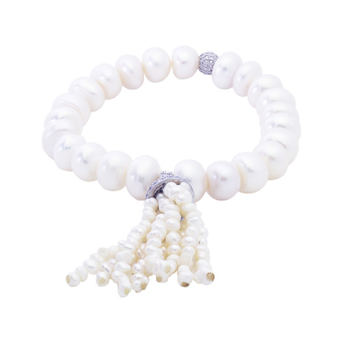 FRESHWATER PEARL WITH CZ STRETCHABLE TASSEL BRACELET