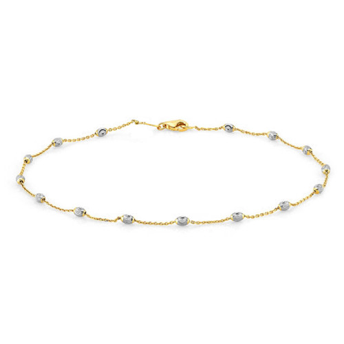 GOLD PLATED OVAL BEAD DIAMOND CUT BRACELET 7""