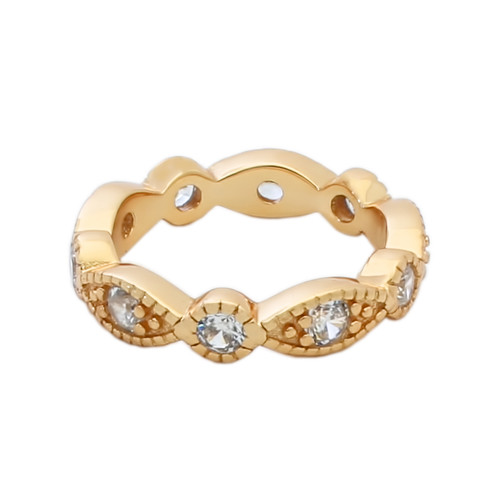 ROSE GOLD PLATED STACKABLE 10 CZ ETERNITY BAND 4MM WIDE