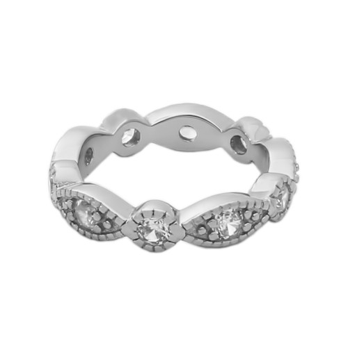 RHODIUM PLATED STACKABLE 10 CZ ETERNITY BAND 4MM WIDE