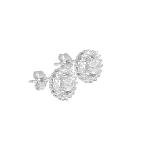 CENTER STONE CLEAR CZ STUD ROUND 85MM EARRINGS