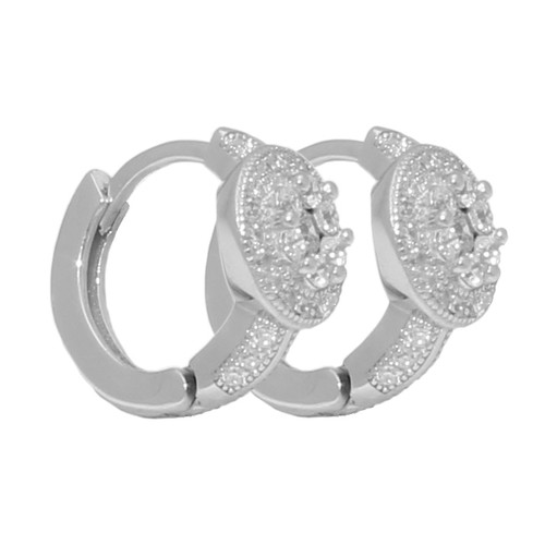 FLOWER SHAPED 7 CENTER STONES PAVE CZ LEVERBACK 90MM EARRINGS