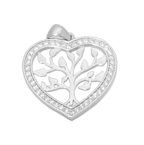 TREE  OF LIFE  CLEAR CZ HEART SHAPED PENDANT