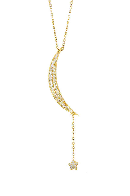 GOLD PLATED MOON AND TWINKLE STAR PAVE CZ ADJUSTABLE NECKLACE