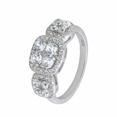 RHODIUM PLATED PAST PRESENT FUTURE CZ WEDDING RING 89MM WIDE