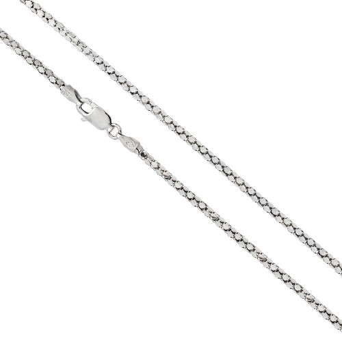 RHODIUM PLATED DIAMOND CUT 2.0 MM COREANA ROUND CHAIN LOBSTER CLASP