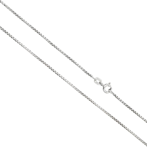 RHODIUM PLATED DIAMOND CUT ROUND BOX 1.0MM SPRING CLASP CHAIN