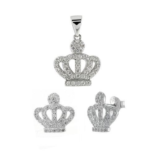PAVE CZ CROWN STUD EARRINGS AND PENDANT SET