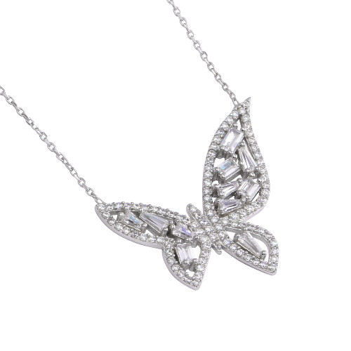 """BUTTERFLY W/WHITE CZ STONES NECKLACE 16+2"""""""