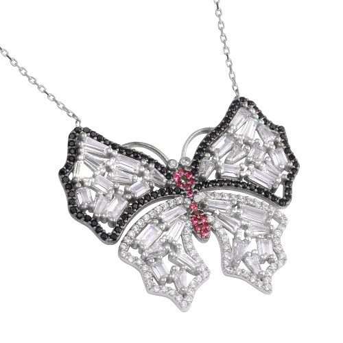 """BUTTERFLY W/BAGUETTES WHITE RED BLACK CZ STONES NECKLACE 16+2"""""""