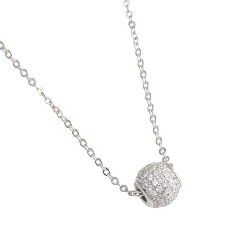 DISCOBALL PENDAT PAVE CZ RHODIUM PLATED NECKLACE