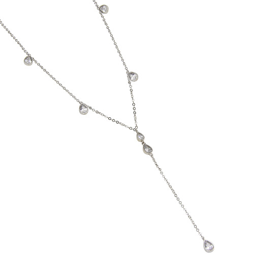TEARDROP CZ PENDATS RHODIUM PLATED NECKLACE 16+2""