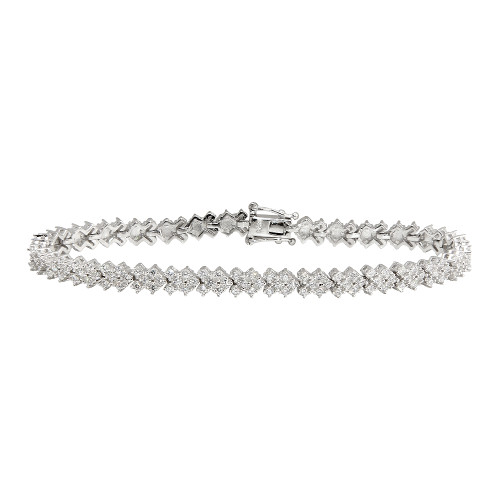 RHODIUM PLATED TIED RIBBON PATTERN CZ BRACELET 7""