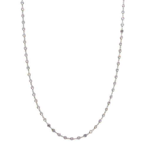 """4MM DIAMOND BY THE YARD RHODIUM PLATED NECKLACE 36"""""""
