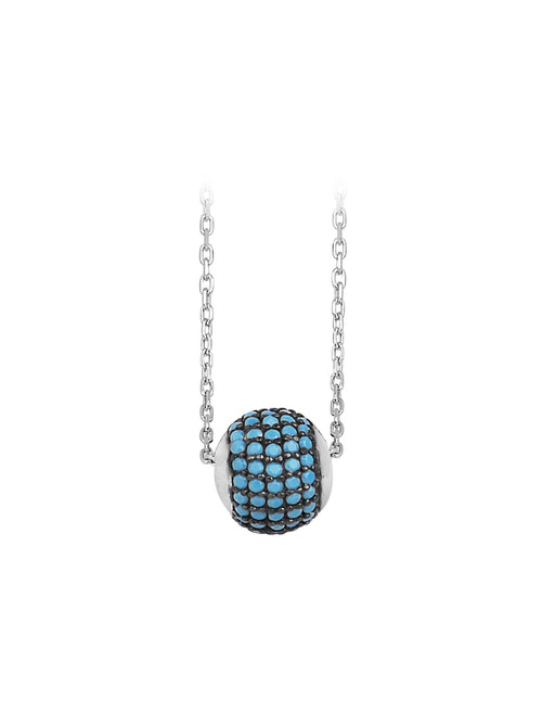 TURQUOISE RHODIUM PLATED ROUND BALL NECKLACE 16+2''