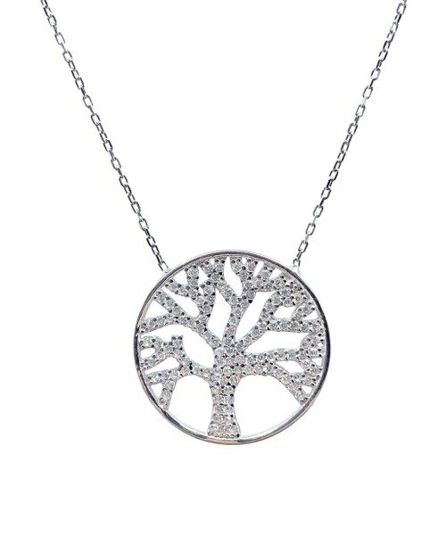 This rhodium plated necklace comes with a round tree of life pendant, accented with cubic zirconia stones.