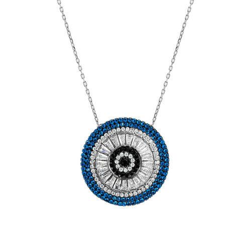 STERLING SILVER RHODIUM PLATED ROUND EVIL EYE BAGUETTE DISC NECKLACE 16+2''