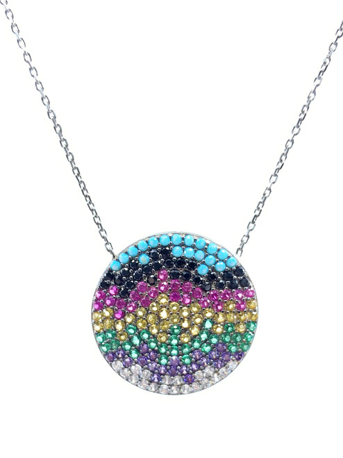 This sterling silver rhodium plated necklace comes with a round multi-color rainbow cz disc.