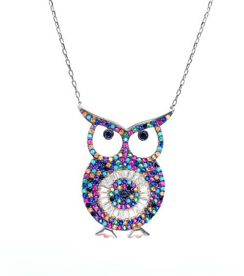 This sterling silver rhodium plated necklace comes with a multi-color rainbow owl cz pendant.