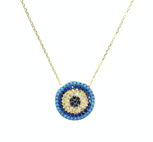 This gold plated necklace comes with a round evil eye cz disc pendant.