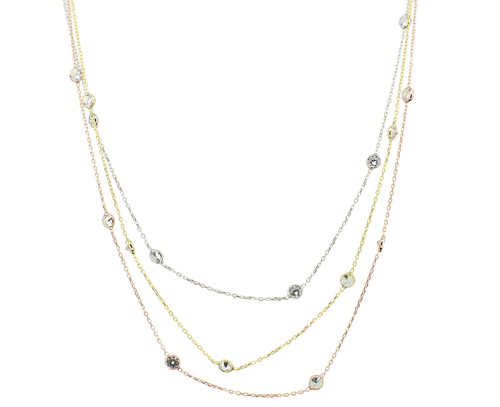 STERLING SILVER 3 COLOR LAYERED 4MM DIAMOND BY THE YARD NECKLACE 16+1""