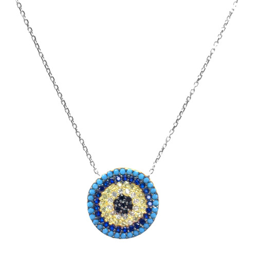 This sterling silver rhodium plated necklace comes with a round evil eye cz disc pendant.