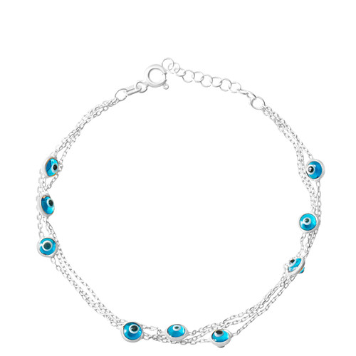This sterling silver rhodium plated bracelet comes with 9 round evil eye stones.