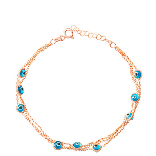 This sterling silver rose gold plated bracelet comes with 9 round evil eye stones.