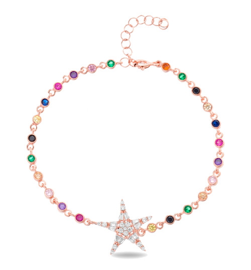 This sterling silver rose gold plated multi-color bracelet comes with 1 star cz pendant.