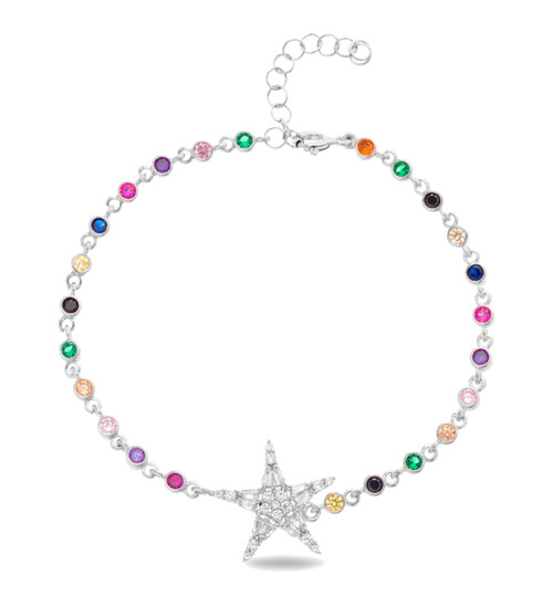 This sterling silver rhodium plated multi-color bracelet comes with 1 star cz pendant.
