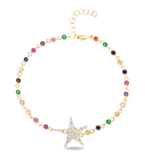 This sterling silver gold plated multi-color bracelet comes with 1 star cz pendant.