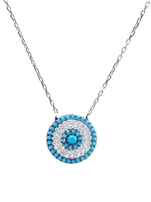 This sterling silver rhodium plated necklace comes with a round turquoise evil eye cz disc pendant.