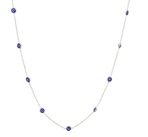 This sterling silver rhodium plated necklace comes with 12 evil eye stones .